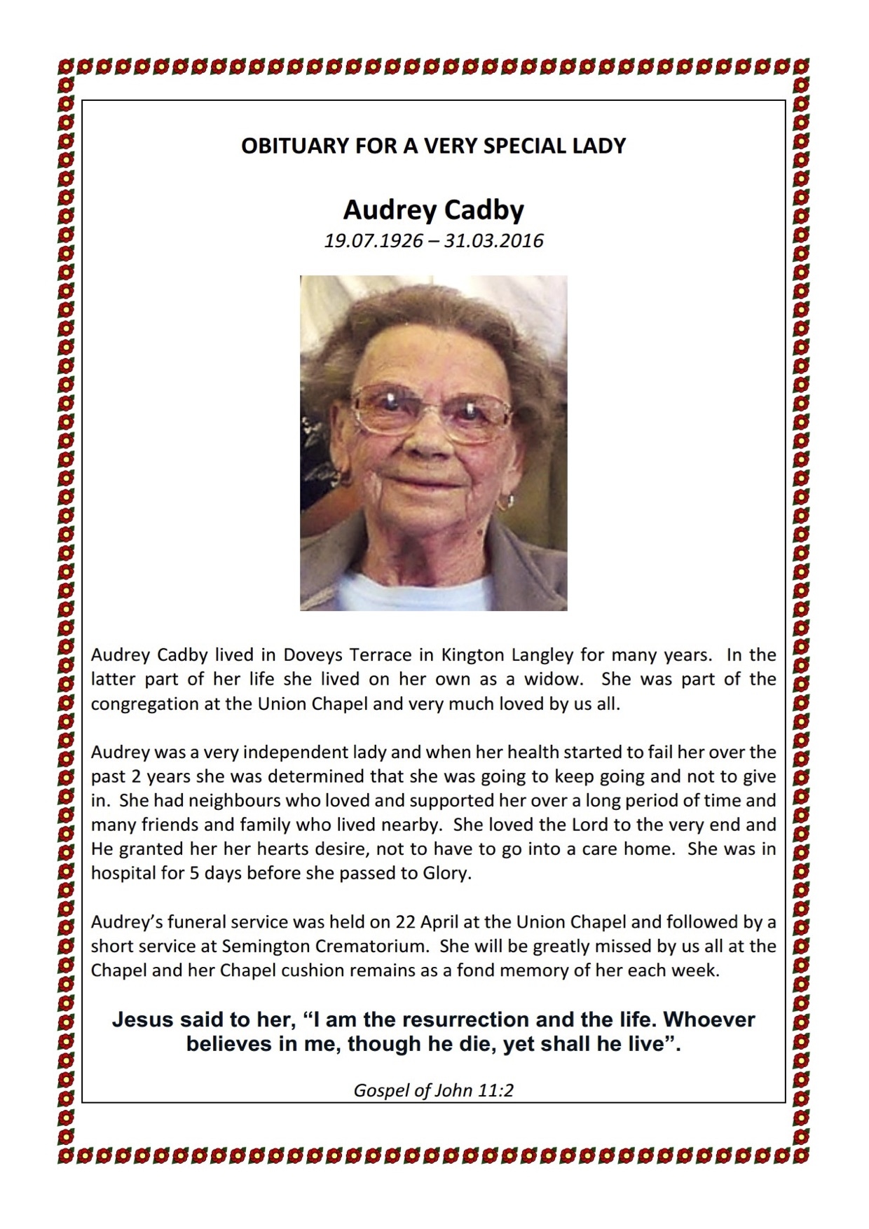 Audrey Obituary may 16